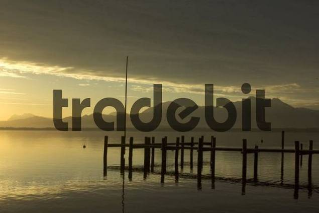 Morning sun Sunrise at the Chiemsee Lake Chiemsee near Prien Chiemgau Upper Bavaria Germany