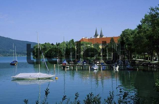 Tegernsee lake with Tegernsee monastery - Upper Bavaria Germany