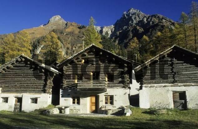 old farmhouses at Borgonovo, Val Bregaglia, Bergell, Switzerland