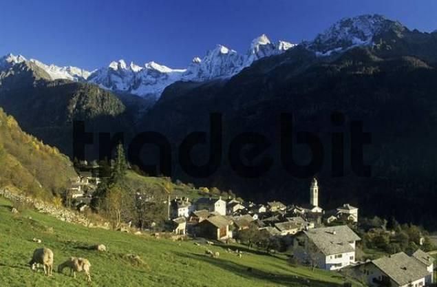 mountain village Soglio in Val Bregaglia, Bergell, Switzerland