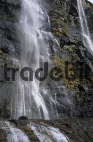 waterfall Cascata dell Acquafraggia at Val Bregaglia, Bergell, Switzerland