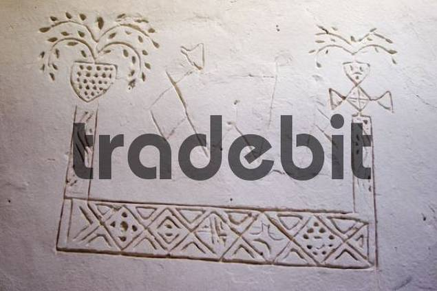 touareg symbols on a wall, Ghadames, Ghadamis, Unesco world heritage site, Libya