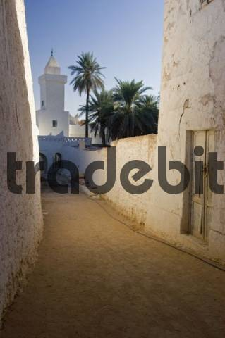 narrow lane with mosque in the historic center of Ghadames, Ghadamis, Unesco world heritage site, Libya