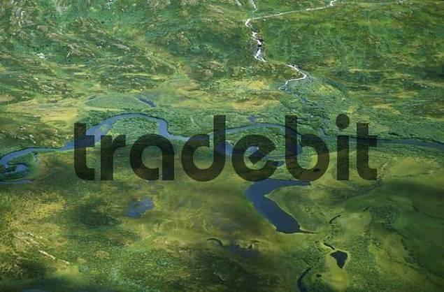 Shot from helicopter river in Padjelanta Nationalpark, swedish Lapland, Sweden