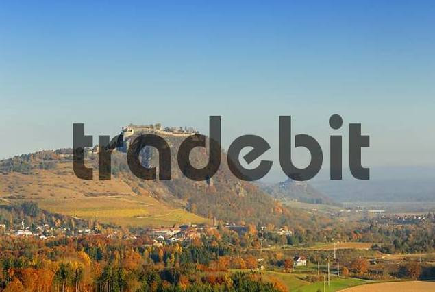 the landmarks in the hegau landscape: Hohentwiel and Hohenkraehen - Baden-Wuerttemberg, Germany, Europe.