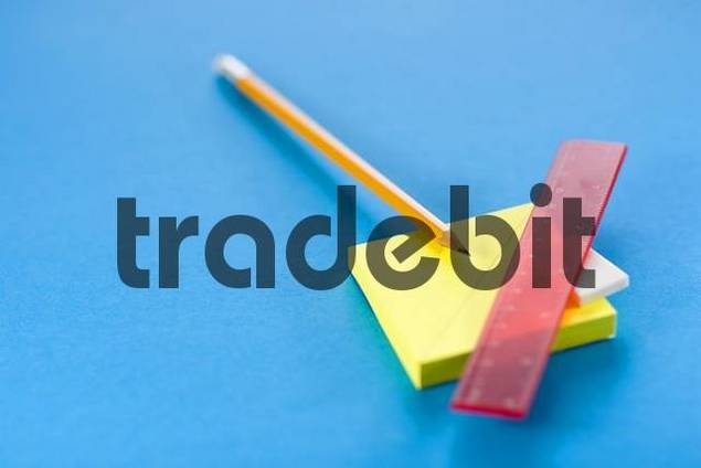 Pencil, eraser, ruler and post-it notes
