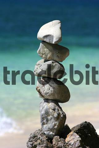 stone pile on a beach, Thailand