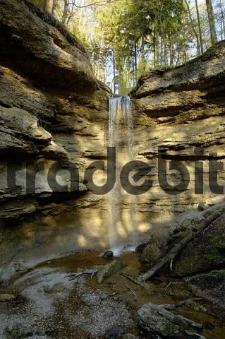 Paehler Schlucht gorge gully with waterfall of Burgleitenbach Pähl Paehl Landkreis Weilheim upper Bavaria Germany