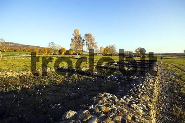 Wall remains of a Roman estate by Schlatt am Randen, Hegau, County Konstanz, Baden-Wuerttemberg, Germany, Europe