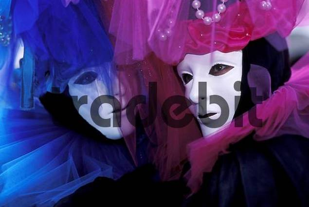 Pink and turquoise mask Carnival Venice