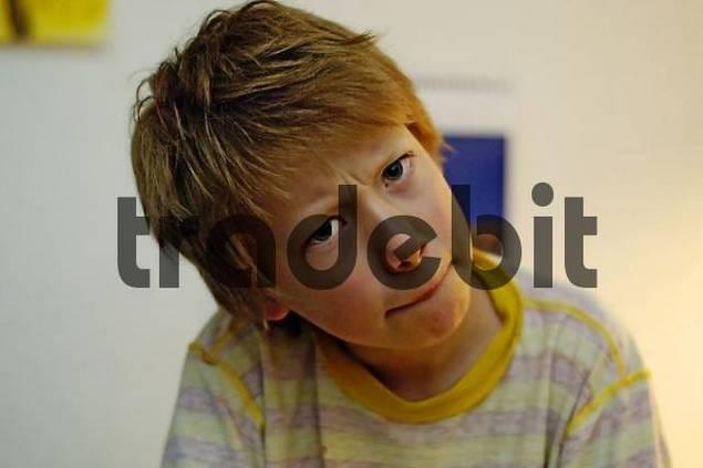 boy looking tense