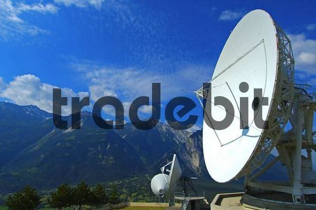 Cassegrain Parabolic antenna with subreflector Satellite Land Earth Station Leuk Valais Switzerland