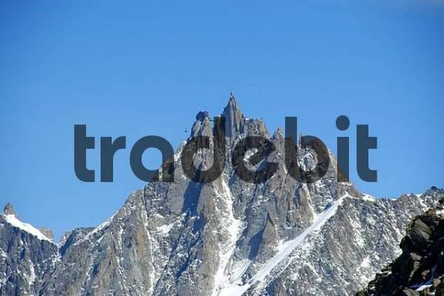 Sharp needle summit of Aiguille du Midi Haute-Savoie France