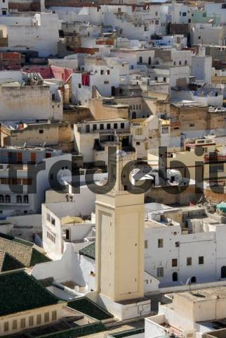 View from above on the old town with minaret in the Zaouia islamic place of pilgrimage Moulay-Idriss Morocco
