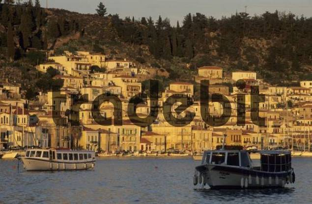 fishingboats in the harbour of Poros, saronian islands Greece