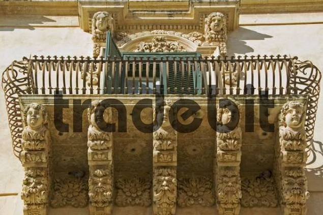 baroque balcony in Noto, the most beautiful baroque town of Sicily, UNESCO world culture heritage, Noto, Sicily, Italy