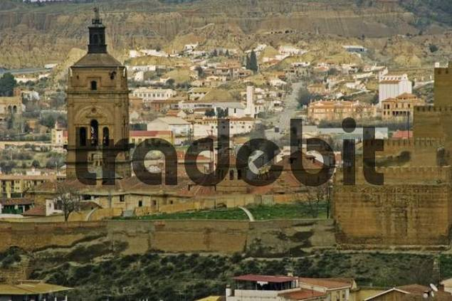 fortress high over the Guadix town, Andalusia, Guadix, Spain