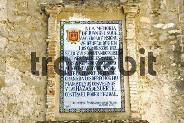 Plaque in Vejer de la Frontera, the most beautiful town on the Atlantic coast, Andalusia, Spain, Europe