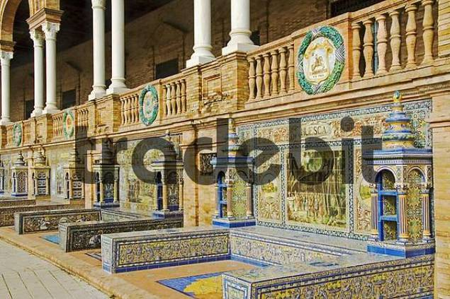 Detailed ceramics, Palacio de Espana, Seville, Andalusia, Spain, Europe