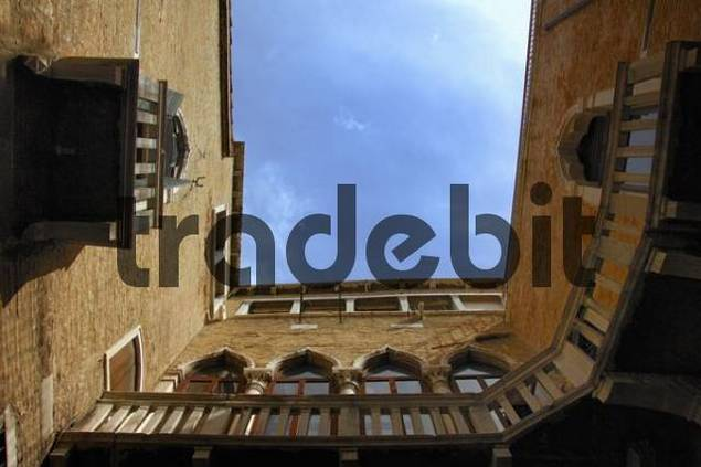 Building with inner courtyard, Caorle, Veneto, Italy