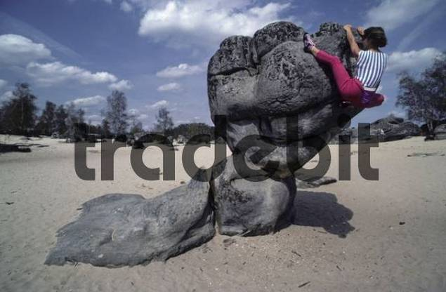 Woman climbing a bizarrely shaped rock, Fontainebleau, France