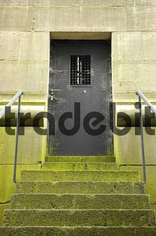 green mossy stairs and door with cobwebs, draw works Henrichenburg, Westphalian industry museum, Waltrop, channel, Dortmund Ems channel, museum, industry museum, route of the industry culture, NRW