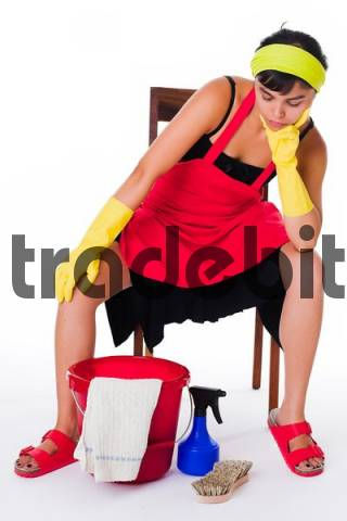 cleaning lady takes a break