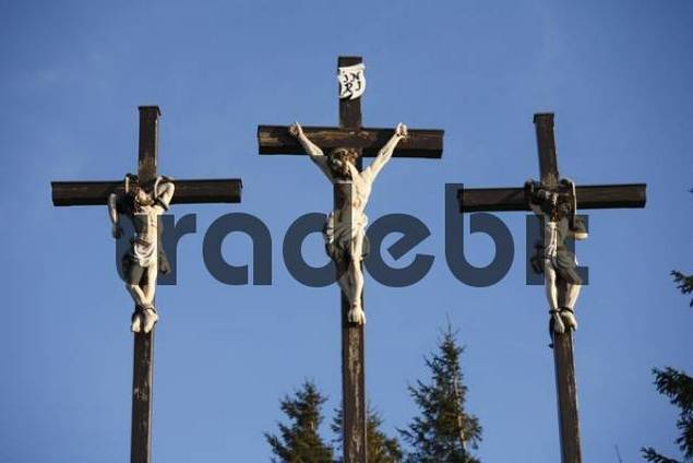 three crosses on Kreuzberg mountain near Bischofsheim, Rhoen, Franconia, Bavaria, Germany