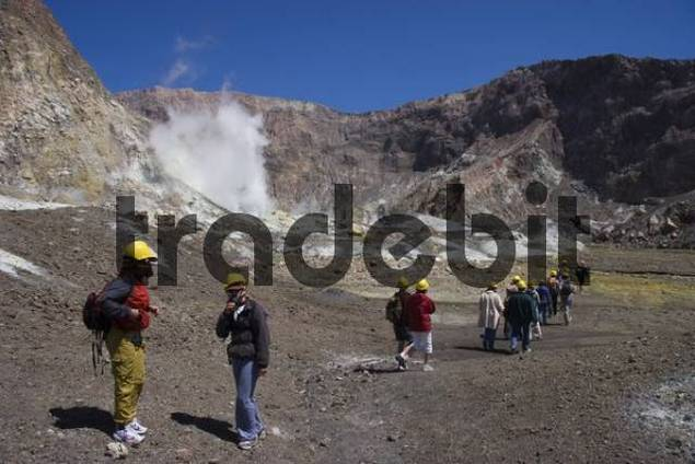 Tourists on White Island, volcanic island, North Island, New Zealand, Oceania