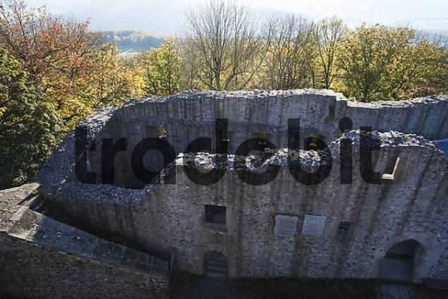 castle ruin Hauneck at Stoppelsberg mountain, Rhoen, Hesse, Germany