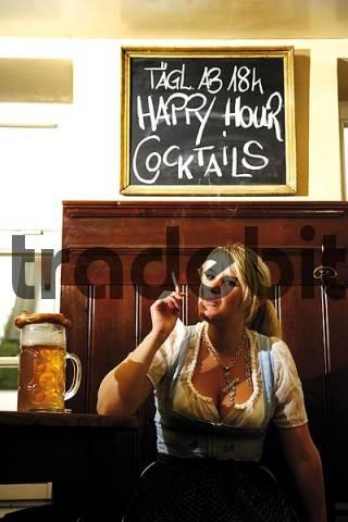 Waitress smoking a cigarette