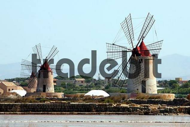 Salt windmills, Sicily, Italy, Europe