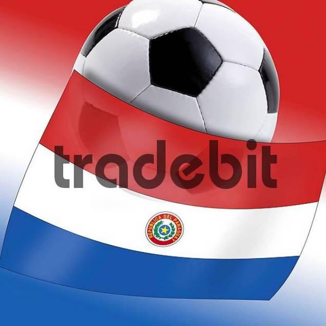 Football with Paraguayan flag