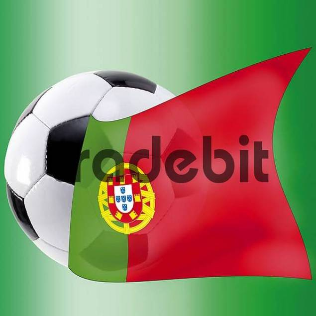 Football with Portuguese flag