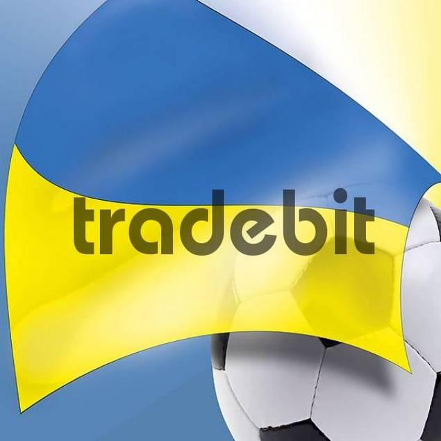 Football and Ukrainian flag