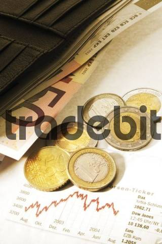 Wallet with cash and coins, stocks page