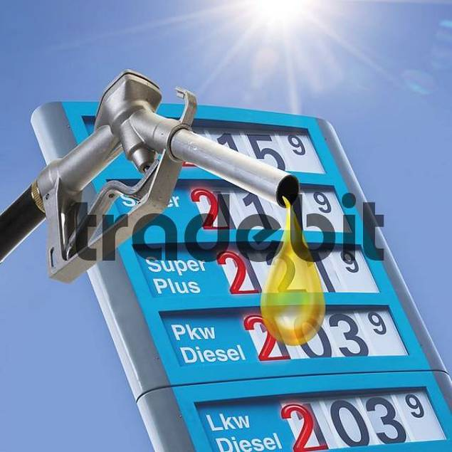 Fuel nozzle with oil drops and price board at a gas station - symbol for high gas prices