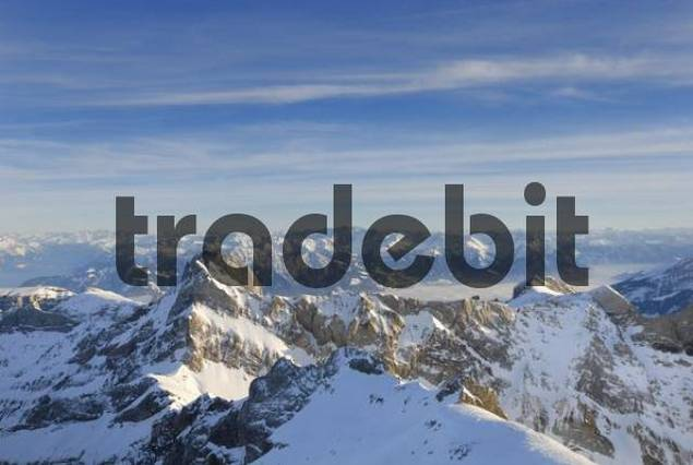 the Alpstein range in evening light - Switzerland, Europe.