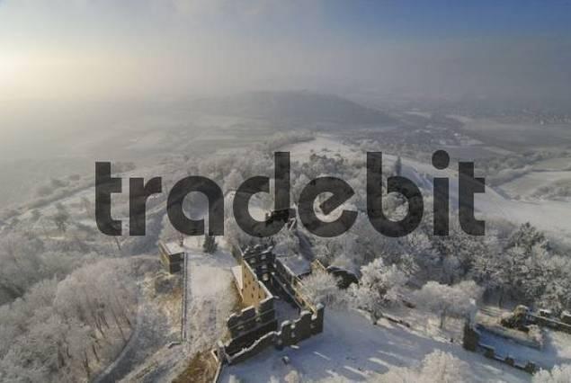 the lower castle ruins on the Hohentwiel in winterly landscape - Konstanz district, Baden-Wuerttemberg, Germany, Europe.