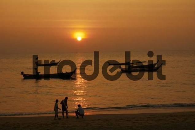 Sunset over Khao Lak Beach, Thailand, Southeast Asia