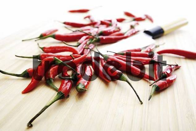 Red Thai chilis with knife