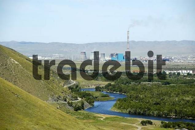 View of the city Ulaan Baatar with coal power plant Mongolia