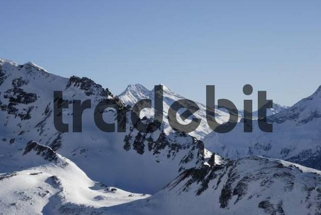 mountain slopes carved by glacier in the Zillertal alps Austria