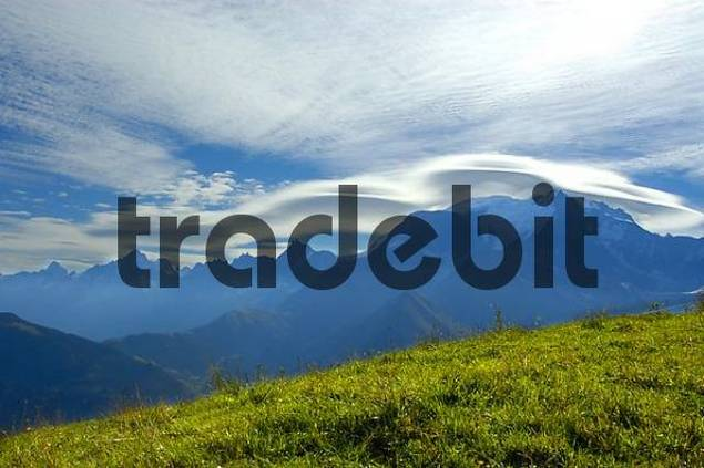 Foehn clouds above mountain Mt. Blanc seen from Mont Joux Haute-Savoie France