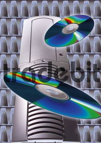 PC world, PC tower and CDs flying in the air, composition shot