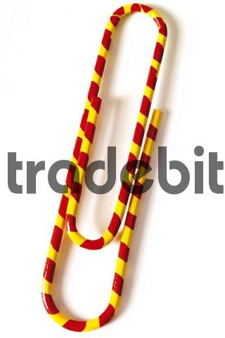 Red-and-yellow striped paper clip