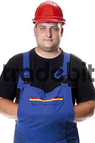 Mechanic wearing blue overall