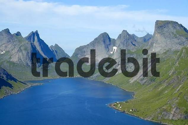 Rough mountains with fjord Kjerkfjorden Moskenesoya Lofoten Norway