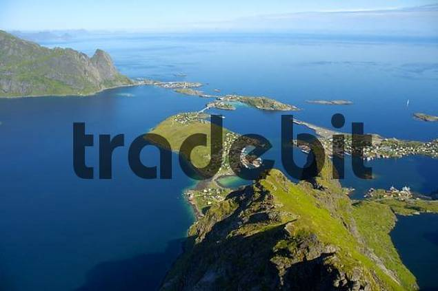 View from above on Reine and Reinefjorden with rock Hammarskattet Moskenesoya Lofoten Norway