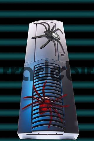 Spiders on a PC tower, symbol for web crawling or spidering, composition shot